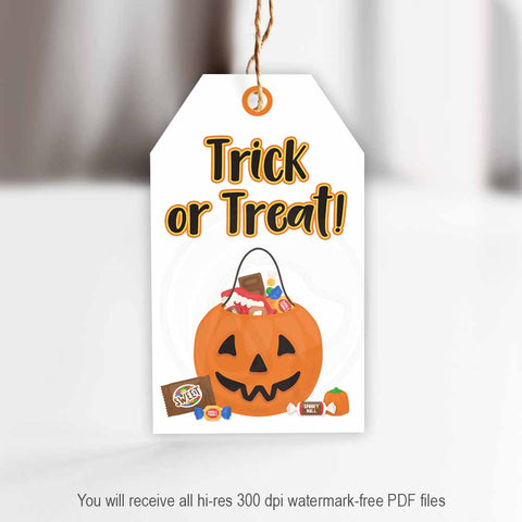 halloween trick or treat cute kids gift tags great bag topper cookie bags printable instant download