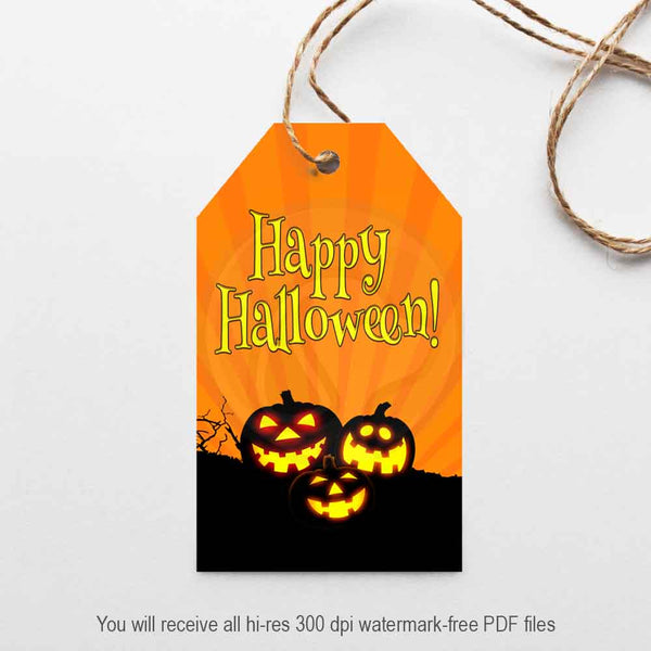 happy halloween pumpkin jack o lantern printable gift tags party decorations