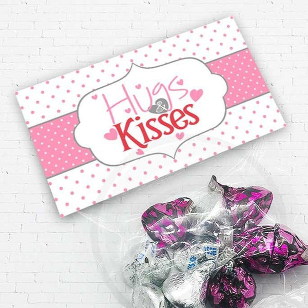 hugs and kisses valentines day candy good treat bag topper download printable kids classroom party cookie bag topper your paper stash