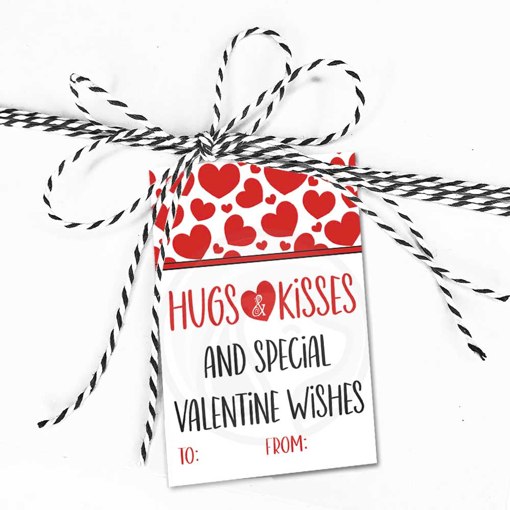 printable hugs and kisses gift tags cookie card tag kids valentine classroom card hug kiss valentine wishes instant download red hearts