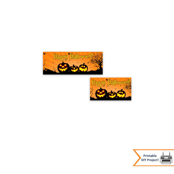 Halloween Treat and Candy Bag Toppers With Pumpkins and Bats