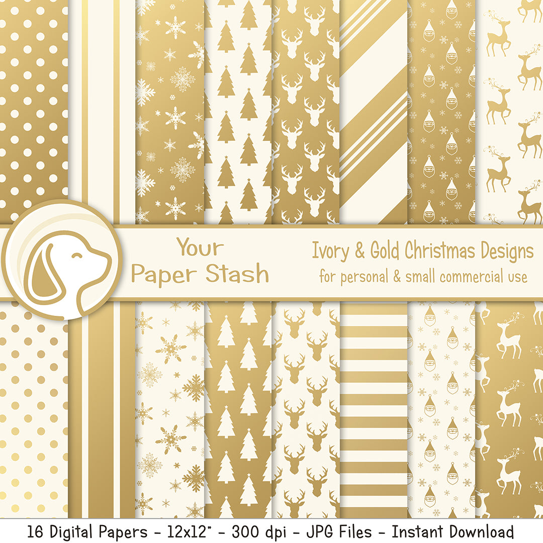 Ivory and Gold Christmas & Holiday Digital Scrapbook Papers