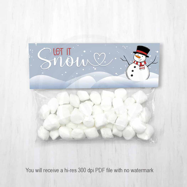 printable kids christmas classroom party favor bag toppers snowman poop let it snow blue christmas printables