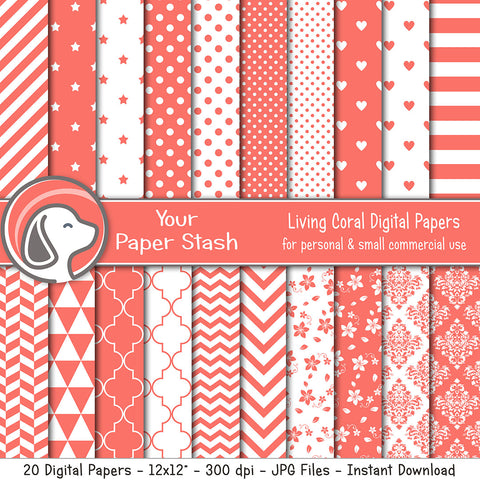 Living Coral Digital Scrapbook Papers & Backgrounds with Polka Dots Stripes Heart & Floral Patterns