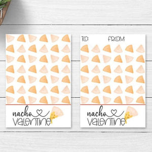 printable nacho valentine card cookie cards tags kids valentine's day party fun supplies decorations instant download pun cute  your paper stash yourpaperstash