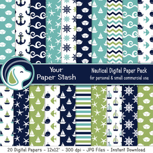 Nautical Digital Scrapbook Papers And Backgrounds