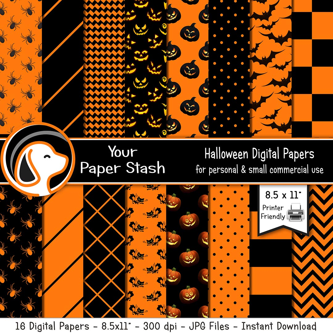 orange black halloween digital scrapbook papers bckgrounds pumpkins bats spiders jack o lantern stripes chevrons checkerboard