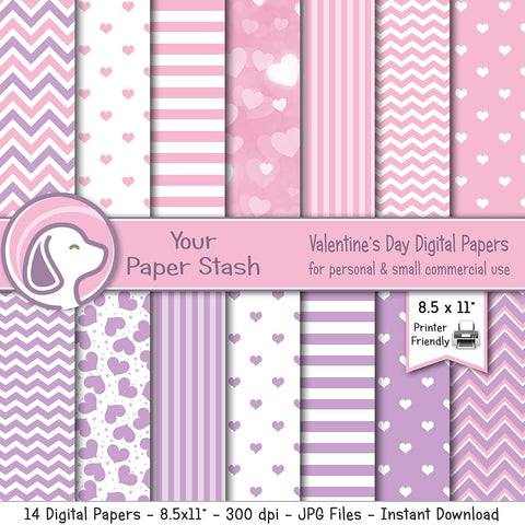 pink lavender purple heart valentine valentine's day digital scrapbook scrapbooking paper stationery paper crafts classroom teachers chevrons stripes instant download