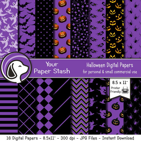 purple halloween digital scrapbook paper backgrounds printable pumpkin bats ghosts spiders stripes geometric chevrons