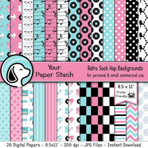 "8.5x11"" Printable 50s Sock Hop Digital Scrapbook Papers"