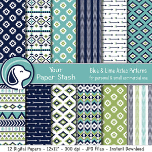 Navy Blue and Lime Green Aztec Digital Scrapbooking Papers and Patterns, Tribal Arrow Digital Paper Pack, Spring and Summer Digital Papers