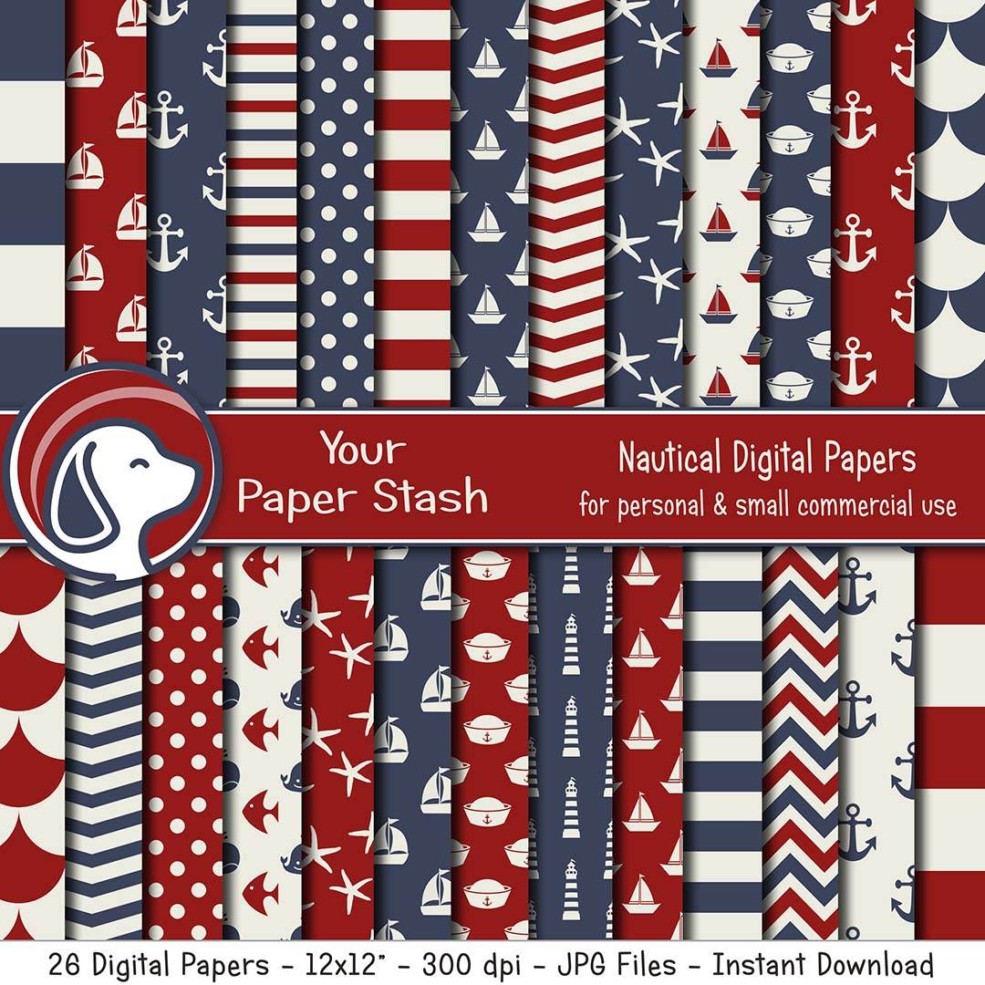 red white blue nautical digital scrapbook paper backgrounds anchors sailboats starfish backgrounds baby shower patriotic scrapbooking ahoy it's a boy