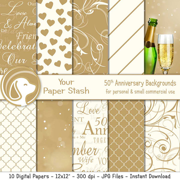 Gold 50th Anniversary Digital Scrapbook Papers and Backgrounds, Golden Anniversary Digital Backgrounds with Bokeh Patterns