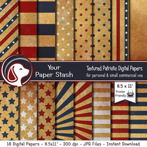 "8.5x11"" Printable Vintage Patriotic Digital Papers for 4th of July and Memorial Day"