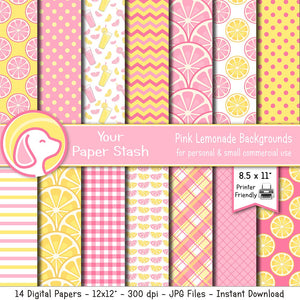 8.5x11 Printable Pink Lemonad Digital Scrapbooking Papers