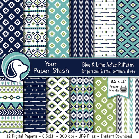 "8.5x11"" Aztec and Tribal Digital Scrapbook Papers w/ Arrow Backgrounds"
