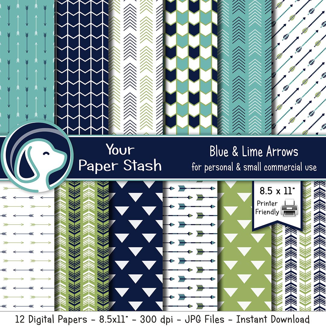 "8.5x11"" Arrow and Tribal Themed Digital Papers and Backgrounds"