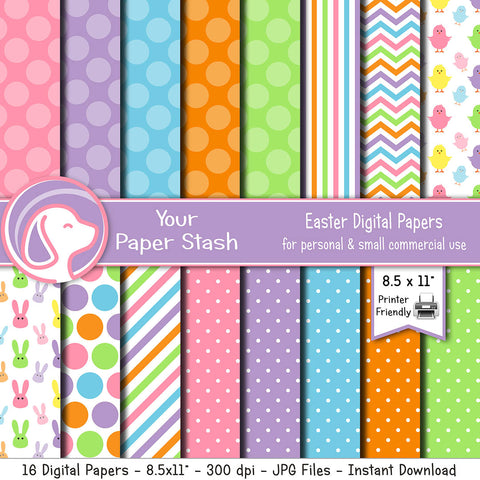 easter digital paper easter bunny chicks