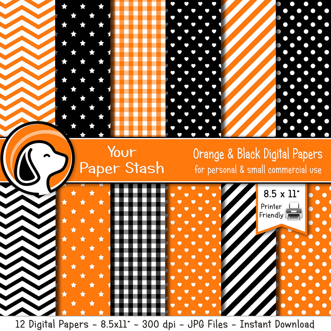 "8.5x11"" Orange And Black Digital Paper Pack For Halloween"