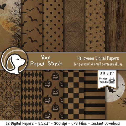 8.5x11 Spooky Halloween Digital Scrapbook Papers With Distressed Texture