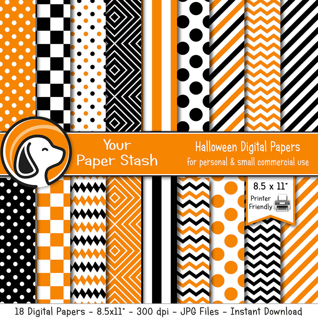 printable orange black halloween geometric digital scrapbook paper backgrounds polka dot diamonds chevron stripes checkerboard patterns