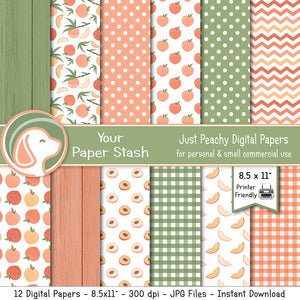 Just Peachy Digital Scrapbook Papers and Backgrounds, Wood Texture Paper