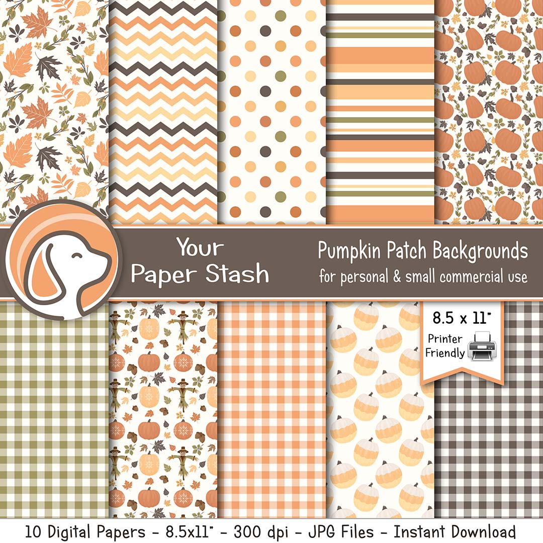 Pumpkin Spice Digital Scrapbook Papers And Backgrounds