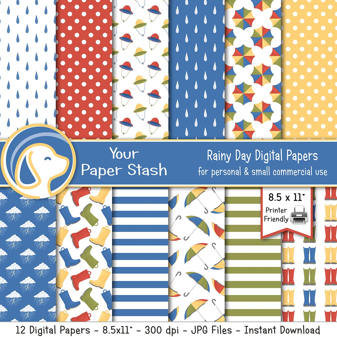 "8.5x11"" Spring Rainy Day Digital Paper Pack"