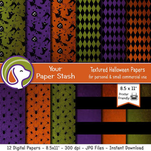 spooky halloween textured digital scrapbook paper orange purple lime green ghost pumpkin witch backgrounds spiders