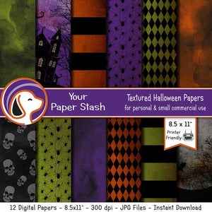 printable halloween digital scrapbook papers backgrounds haunted house skull full moono spiders diamond digital background scrapbooking card making supplies