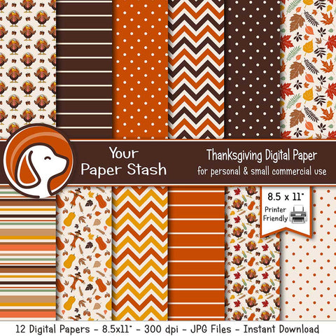 thanksgiving turkey digital paper backgrounds autumn leaf leaves scrapbook paper printable burnt orange brown harvest gold gobble gobble