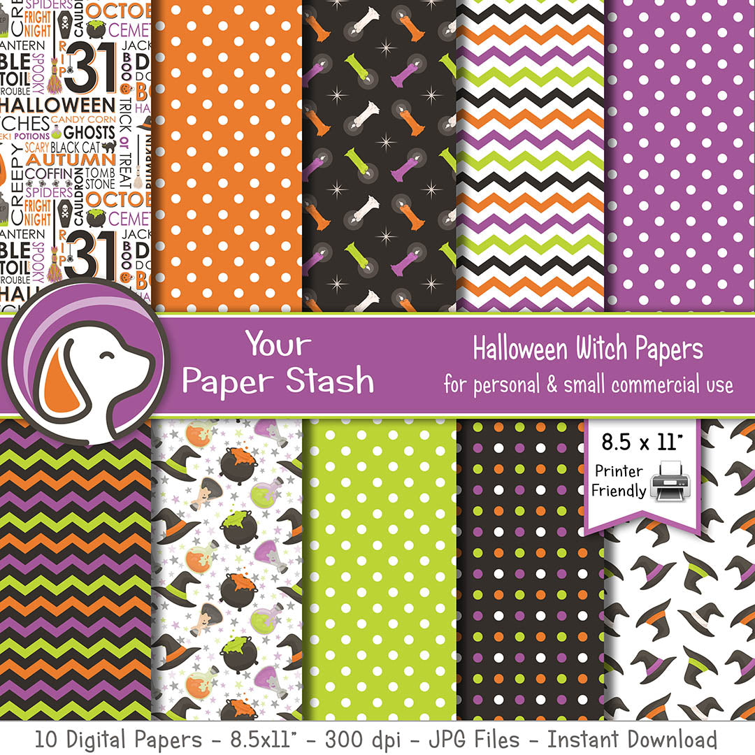 Halloween Witch Digital Scrapbook Papers Cauldrons Potions Witch Hats