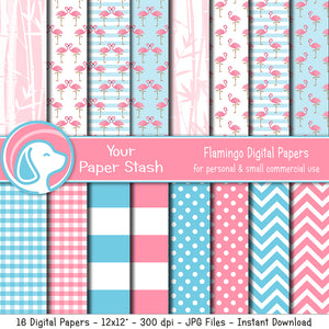 Pink and Aqua Blue Flamingo Digital Scrapbook Papers and Backgrounds, Tropical Vacation Digital Paper Pack, Bamboo Backgrounds