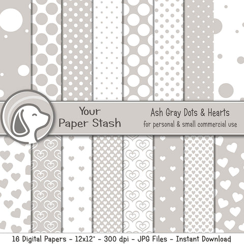 Ash Gray Polka Dot And Heart Digital Scrapbook Paper Pack