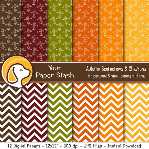 pumpkin autumn spice olive green harvest gold rust burnt orange digital scrapbook paper scarecrow chevron backgrounds instant download