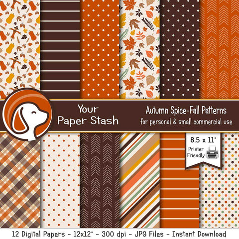 autumn fall pumpkin spice thanksgiving halloween digital scrapbook paper pack instant download scarecrow clipart leaves leaf background backdrop polka dot stripes