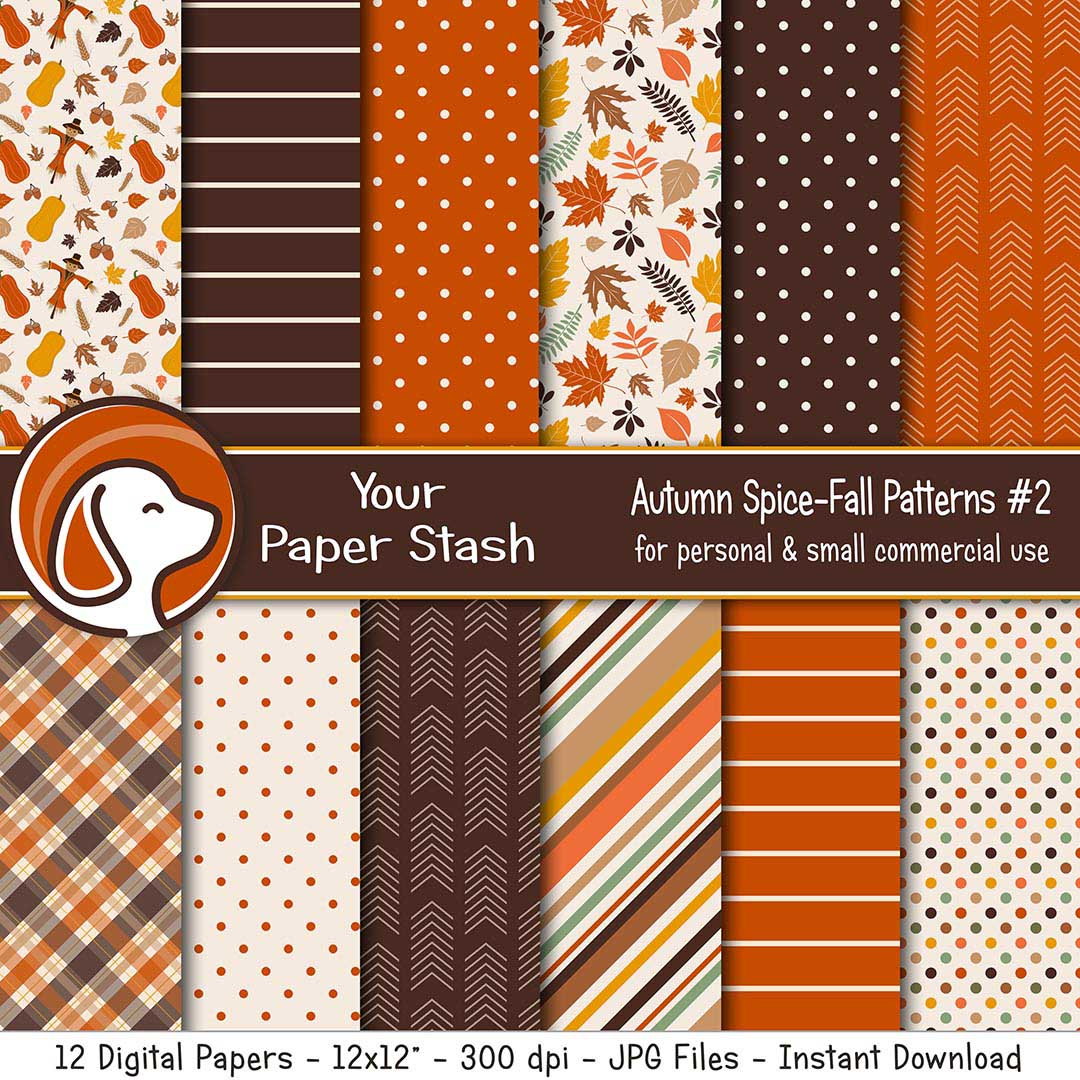 Autumn Pumpkin Spice Digital Scrapbook Papers & Backgrounds