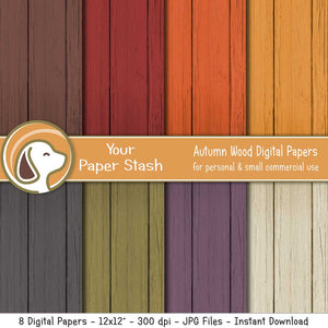 Warm Autumn Wood Textured Digital Paper Backgrounds