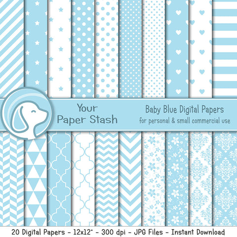 Baby Blue Digital Scrapbook Papers w/ Polka Dots Stripes & Mixed Patterns