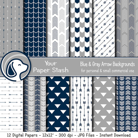 Navy Blue & Gray Arrow Digital Scrapbook Papers & Backgrounds, Arrow Patterned Scrapbooking Pages, Instant Downloads