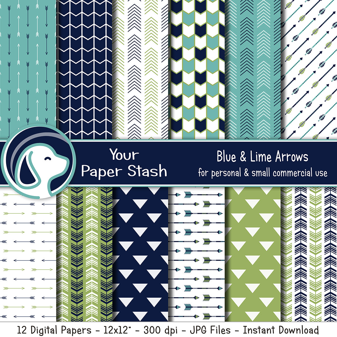 Navy Blue And Lime Arrow Digital Scrapbooking Papers And Backgrounds, Spring and Summer Digital Paper Pack, Commercial Use