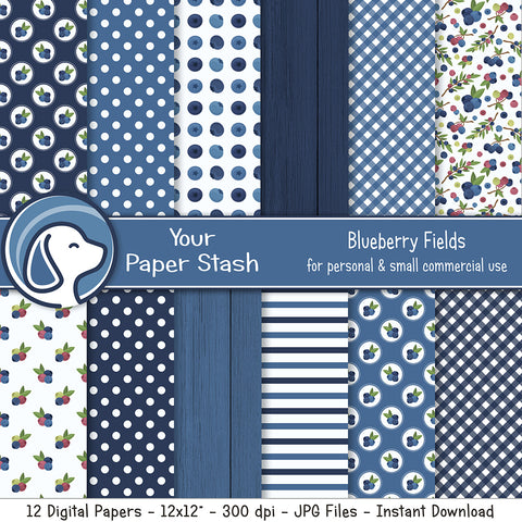 Blueberry Themed Digital Scrapbook Papers & Backgrounds for Summer Scrapbook Pages and Crafting, Berry Fruit Themed Digital Scrapbooking Pages