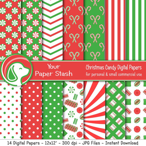 Old Fashion Christmas Candy Digital Scrapbook Papers