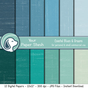 coastal blue green textured distressed digital scrapbook paper background