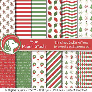 christmas and holiday cookie digital scrapbook papers and backgrounds