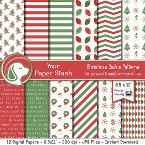 red and green christmas digital paper pack