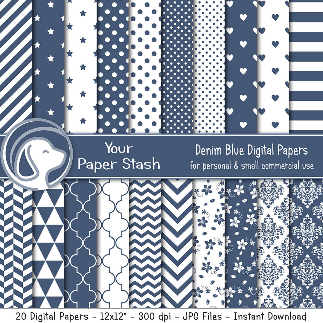 Denim Blue Digital Scrapbook Papers and Backgrounds With Stripe Chevron Polka Dot and Floral Patterns