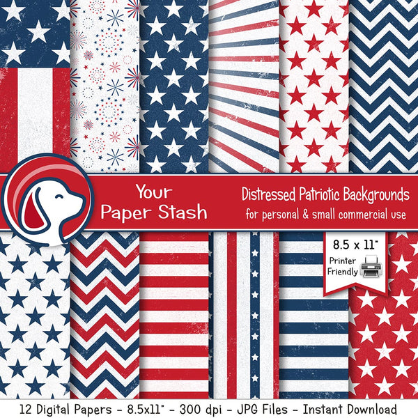 Textured Patriotic Digital Paper Pack | Red White Blue Stars & Stripe Backgrounds