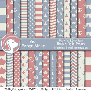 mauve dusty blue nautical baby digital scrapbook scrapbooking paper pack instant downlaod commercial use baby shower gender reveal anchors sailboats starfish chevron stripe backgrounds