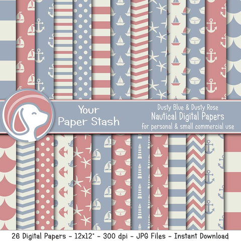 Dusty Blue And Pink Nautical Digital Paper Pack, Nautical Scrapbook Papers for Baby Showers and Birthday Pages